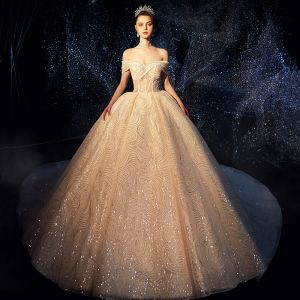 Luxury / Gorgeous Sparkly Ivory Wedding Dresses 2019 Ball Gown Off-The-Shoulder Short Sleeve Backless Glitter Sequins Cathedral Train Ruffle