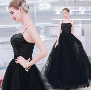 Piękne Jednolity kolor Czarne Sukienki Wieczorowe 2019 Princessa Spaghetti Pasy Bez Rękawów Bez Pleców Długie Sukienki Wizytowe