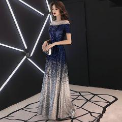 Sparkly Navy Blue Gradient-Color Sequins Evening Dresses  2019 A-Line / Princess See-through Scoop Neck Short Sleeve Rhinestone Floor-Length / Long Backless Formal Dresses