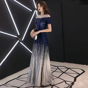 Sparkly Navy Blue Gradient-Color Sequins Evening Dresses  2019 A-Line / Princess See-through Scoop Neck Short Sleeve Rhinestone Floor-Length / Long Backless Formal Dresses