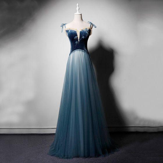 Chic / Belle Bleu Marine Daim Robe De Soirée 2019 Princesse Transparentes Col v profond Bretelles Spaghetti Sans Manches Perlage Longue Volants Dos Nu Robe De Ceremonie