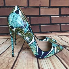 Chic / Beautiful Jade Green Casual Pumps 2019 Snakeskin Print 12 cm Stiletto Heels Pointed Toe Pumps