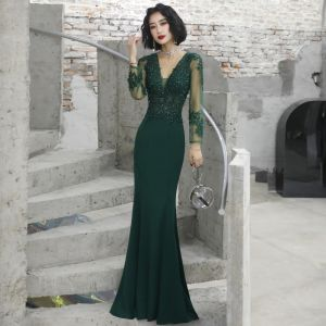 Illusion Dark Green See-through Evening Dresses  2020 Trumpet / Mermaid Deep V-Neck Long Sleeve Appliques Lace Beading Floor-Length / Long Ruffle Backless Formal Dresses