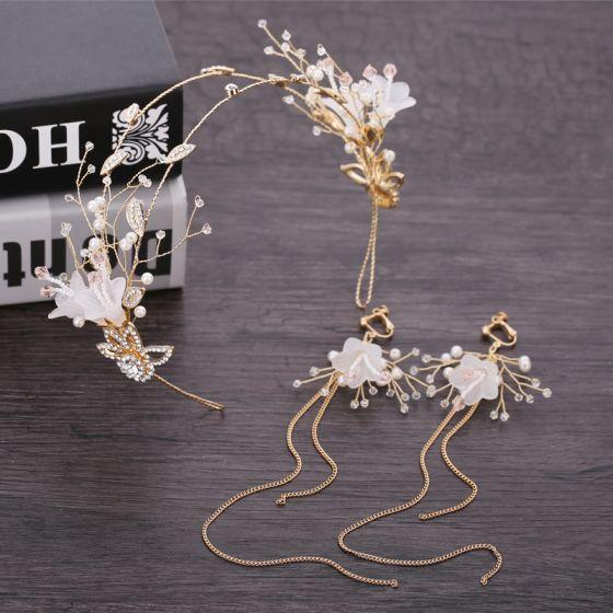 Blomma Fe Guld Brudsmycken 2019 Metall Pärla Kristall Blomma Rhinestone Hårsmycken Tassel Örhängen Bröllop Tillbehör