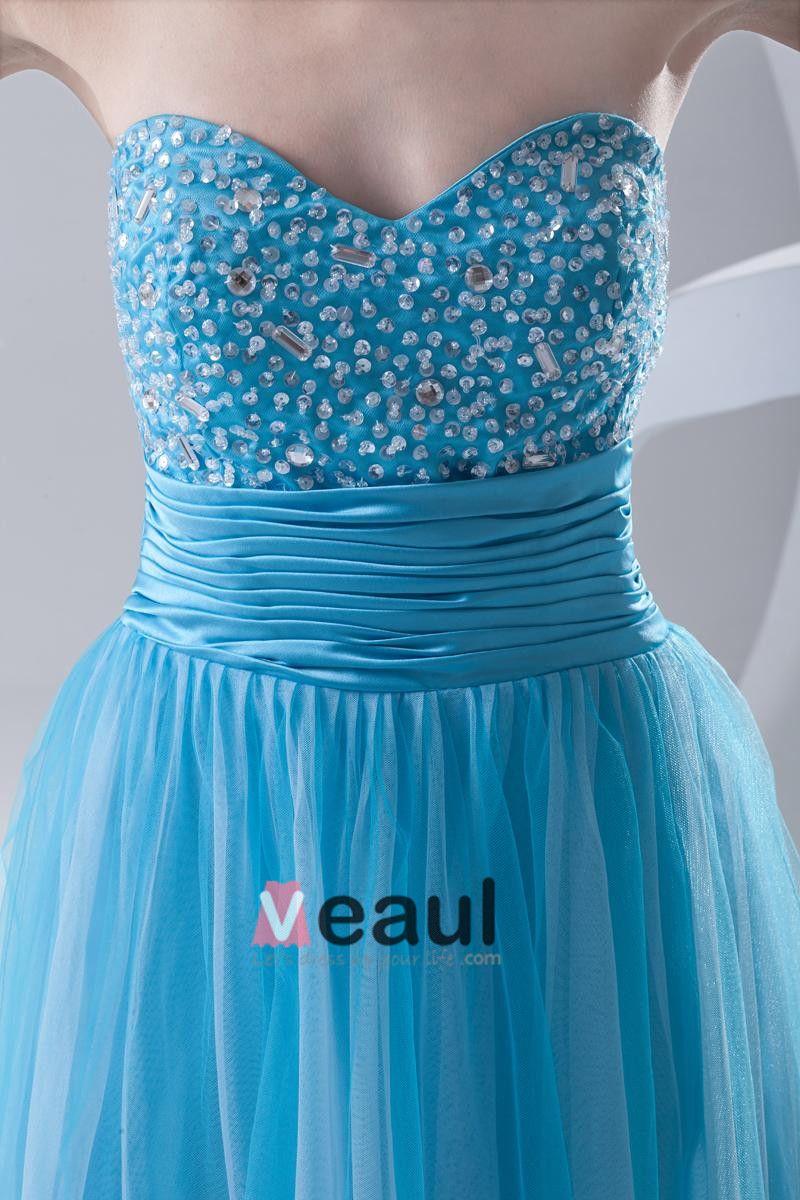 Mode Organza Satin Perlen Liebsten Bodenlangen Ballkleid