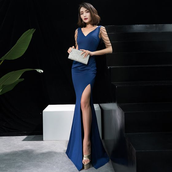 Charming Navy Blue Evening Dresses  2019 Trumpet / Mermaid Beading Sequins Split Front V-Neck Sleeveless Backless Sweep Train Formal Dresses