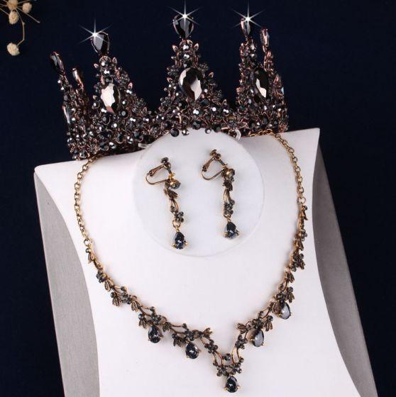 Vintage Barokowy Czarne Kryształ Rhinestone Biżuteria Ślubna 2019 Metal Tiara Kolczyki Naszyjnik Ślub Akcesoria