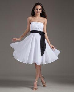 Mode Trägerlosen Knielangen Chiffon Abendkleider