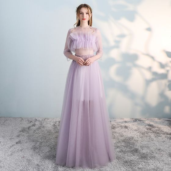 Unieke Blozen Roze Galajurken 2018 A lijn Ronde Hals 3/4 Mouwen Lange Gelegenheid Jurken