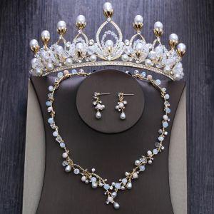 Mooie / Prachtige Goud Bruidssieraden 2020 Metaal Kralen Parel Rhinestone Nek Ketting Oorbellen Tiara Huwelijk Accessoires