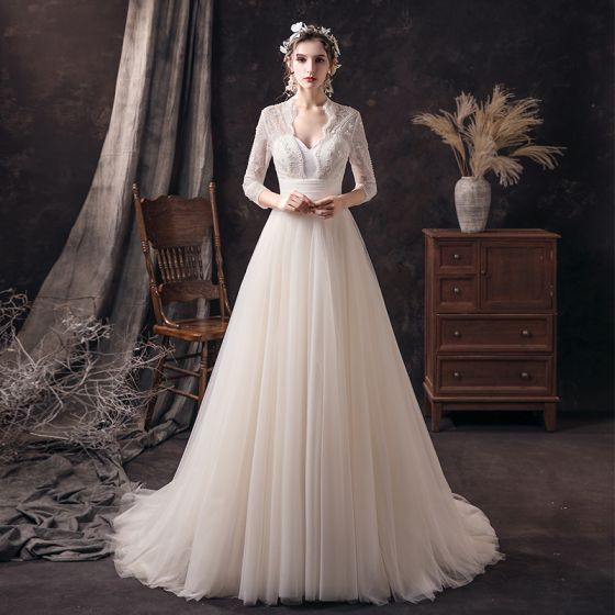 Affordable Champagne Lace Bridal Wedding Dresses 2020 A-Line / Princess V-Neck 3/4 Sleeve Backless Beading Pearl Sweep Train Ruffle