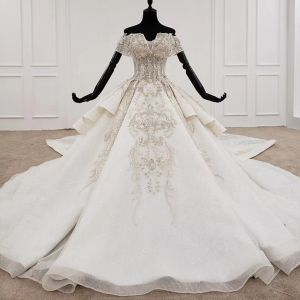 Luxury / Gorgeous High-end Ivory Ball Gown Wedding Dresses 2020 Off-The-Shoulder Tulle Handmade  Beading Backless Crystal Rhinestone Sequins Cathedral Train Wedding
