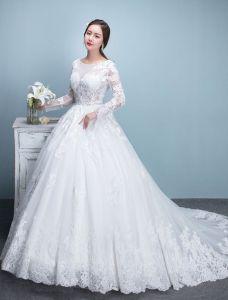 Elegantes Hochzeitskleider 2017 Scoop Ausschnitt Applique Spitze Brautkleider Mit Langen Ärmeln