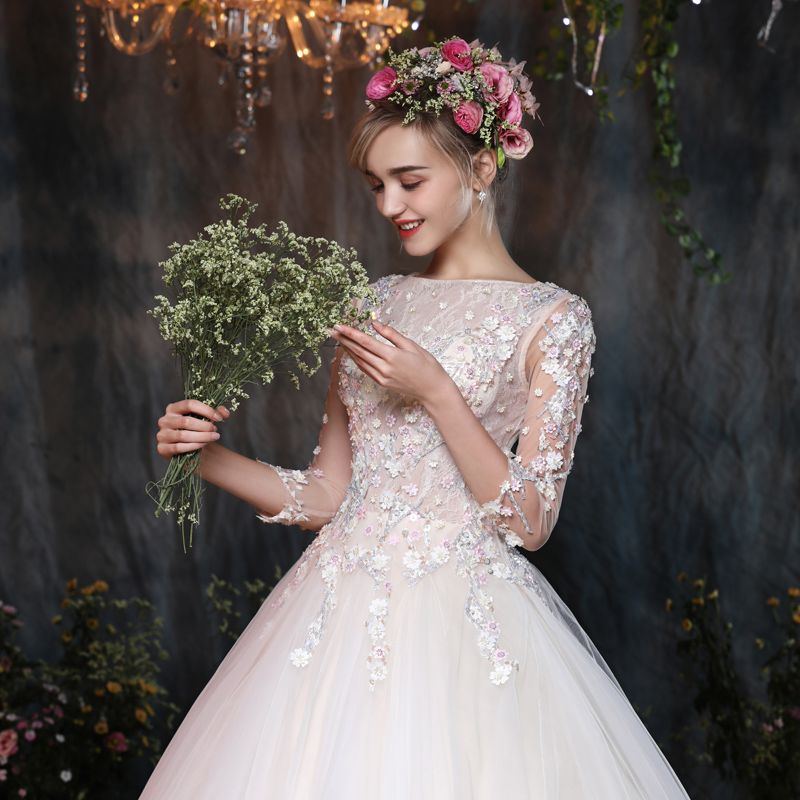 Classic Hall Wedding Dresses 2017 White Ball Gown Floor-Length / Long Square Neckline 3/4 Sleeve Backless Lace Flower Appliques