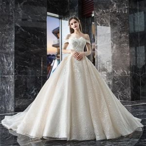 Bling Bling Champagne Wedding Dresses 2019 A-Line / Princess Off-The-Shoulder Short Sleeve Backless Appliques Lace Sequins Beading Glitter Tulle Cathedral Train Ruffle