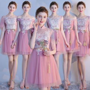 Chic / Beautiful Blushing Pink Bridesmaid Dresses 2018 A-Line / Princess Appliques Lace Bow Backless Short Wedding Party Dresses