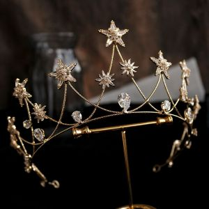 Modest / Simple Gold Tiara Bridal Hair Accessories 2020 Alloy Star Beading Rhinestone Wedding Accessories