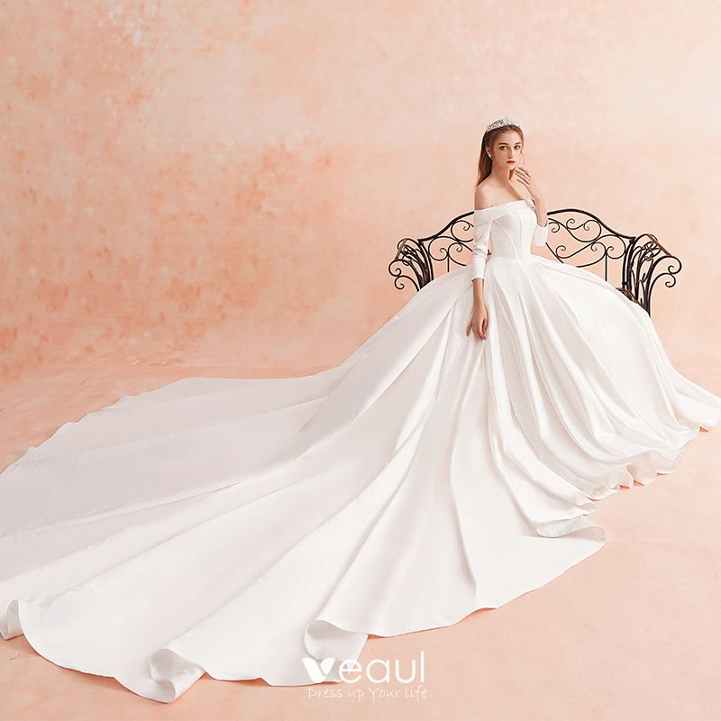 Modest / Simple Ivory Winter Wedding Dresses 2019 A-Line