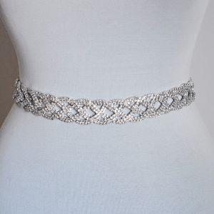 Glitter Stijlvolle Ivoor Huwelijk Sjerp 2020 Metaal Satijn Kralen Rhinestone Bruids Avond Gala Accessoires