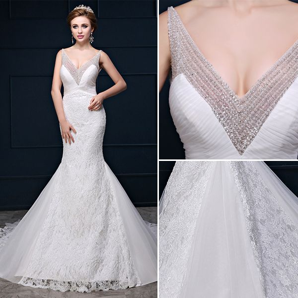Glitter Mermaid Deep V-neck Backless Beading Sequin Lace Wedding Dress