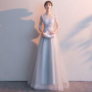 Niedrogie Szary Sukienki Wieczorowe 2019 Princessa V-Szyja 1/2 Rękawy Przebili Szarfa Aplikacje Z Koronki Długie Wzburzyć Sukienki Wizytowe