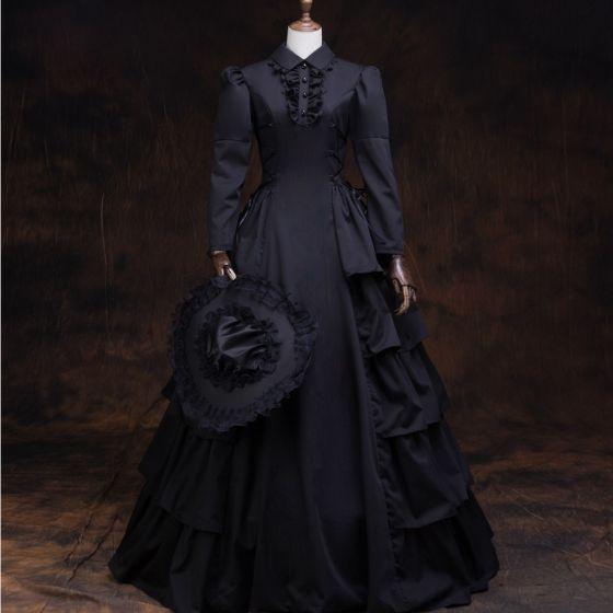 Vintage Średniowieczny Gotycka Czarne Suknia Balowa Sukienki Na Bal 2021 Długie Rękawy Wysokiej Szyi Długie Guziki Satyna Jednolity kolor Cosplay Bal Sukienki Wizytowe