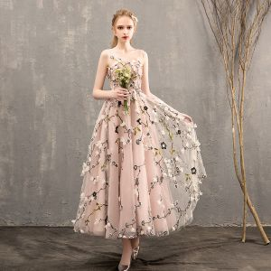 Flower Fairy Pearl Pink Prom Dresses 2018 A-Line / Princess See-through Scoop Neck Sleeveless Appliques Flower Tea-length Ruffle Backless Formal Dresses