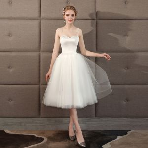 Affordable Ivory Wedding Dresses 2018 A-Line / Princess Charmeuse Spaghetti Straps Backless Sleeveless Knee-Length Wedding