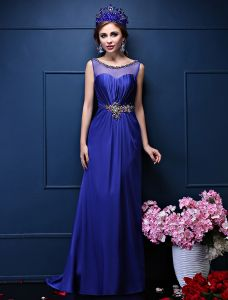 Glitter A-line Square Neckline Beading Crystal Sash Ruffle Royal Blue Satin Evening Dress