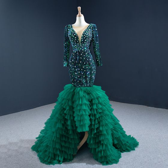 Luxury / Gorgeous Dark Green Red Carpet Evening Dresses  2020 Trumpet / Mermaid See-through Deep V-Neck Long Sleeve Rhinestone Sequins Sweep Train Cascading Ruffles Backless Formal Dresses