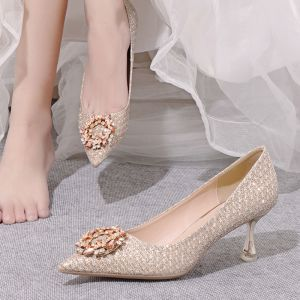 Bling Bling Gold Crystal Wedding Shoes 2020 Rhinestone 8 cm Stiletto Heels Pointed Toe Wedding Pumps