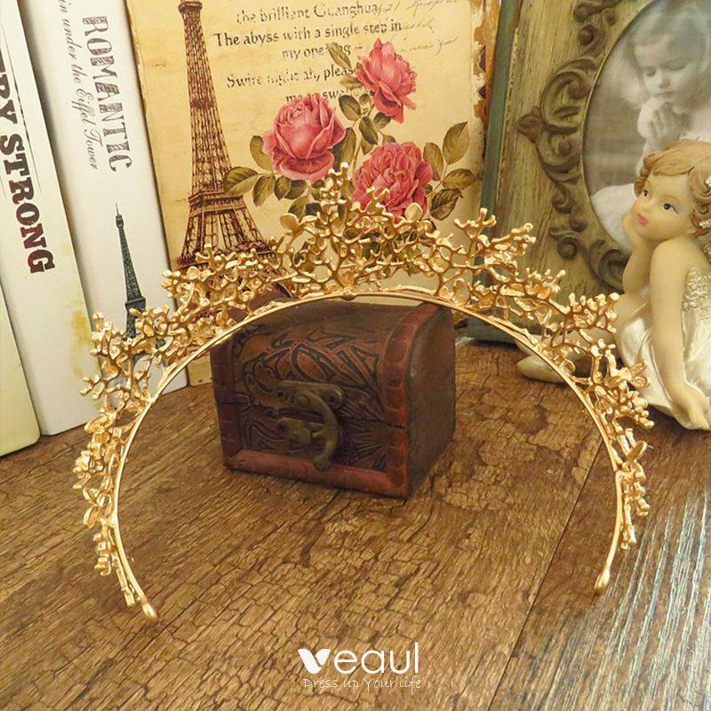 Modest / Simple Gold Rhinestone Metal Tiara 2017 Bridal Jewelry