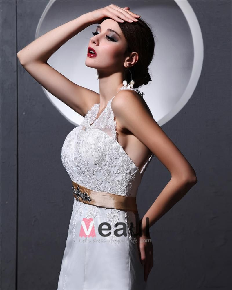Halter Sleeveless Button Sash Applique Floor Length Lace charmeuse Woman Mermaid Wedding Dress