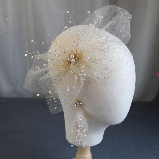Chic / Beautiful Gold Headpieces Bridal Hair Accessories 2020 Alloy Silk Flower Beading Pearl Earrings Wedding Accessories