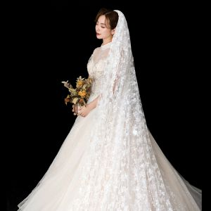 Flower Fairy White Wedding Veils 2020 Tulle Lace Flower Appliques Chapel Train Wedding Accessories
