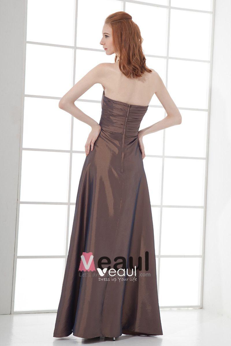 Fashion Taffeta Pleated Bow Strapless Floor Length Bridesmaid Dress