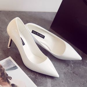 Modern / Fashion Ivory OL Pumps 2019 Patent Leather 7 cm Stiletto Heels Pointed Toe Pumps