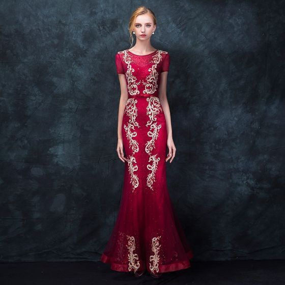 Chic / Beautiful Burgundy Evening Dresses  2018 Trumpet / Mermaid Scoop Neck Short Sleeve Appliques Lace Bow Sash Floor-Length / Long Ruffle Formal Dresses