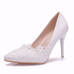 Affordable White Wedding Pumps 2020 Lace Flower 9 cm Stiletto Heels Pointed Toe Womens Shoes