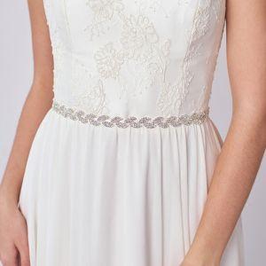 Klassieke Elegante Zilveren Sjerp 2020 Satijn Metaal Handgemaakt Kralen Rhinestone Huwelijk Avond Gala Accessoires