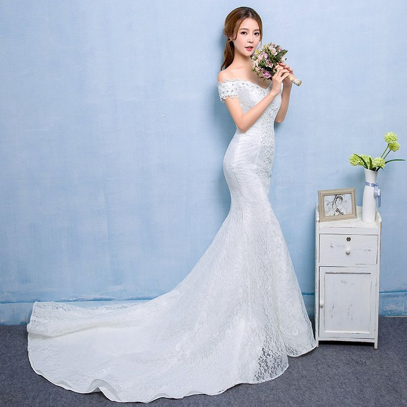 Affordable Hall Wedding Dresses 2017 White Trumpet / Mermaid Chapel Train Sweetheart Short Sleeve Backless Lace Appliques Rhinestone Beading
