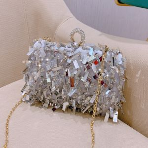 Modern / Fashion Silver Patent Leather Clutch Bags 2019 Sequins Tassel Accessories