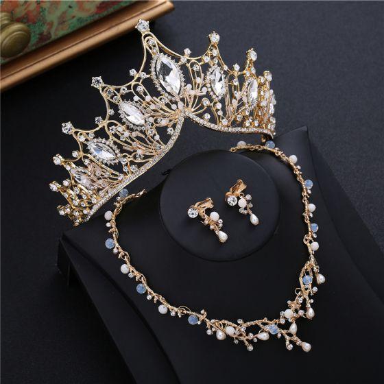 Chic / Beautiful Gold Tiara Earrings Necklace Beading Rhinestone 2019 Metal Bridal Jewelry Accessories