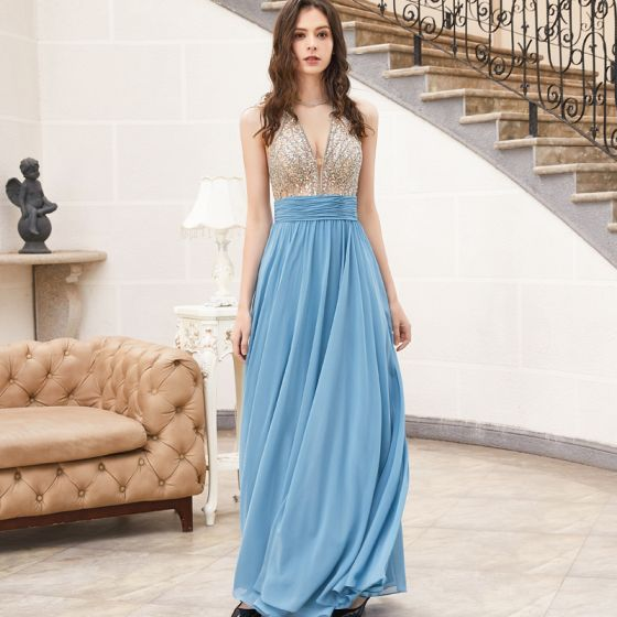 Sexy Ocean Blue Dancing Prom Dresses 2020 Empire See-through Deep V-Neck Sleeveless Beading Sequins Floor-Length / Long Ruffle Backless Formal Dresses