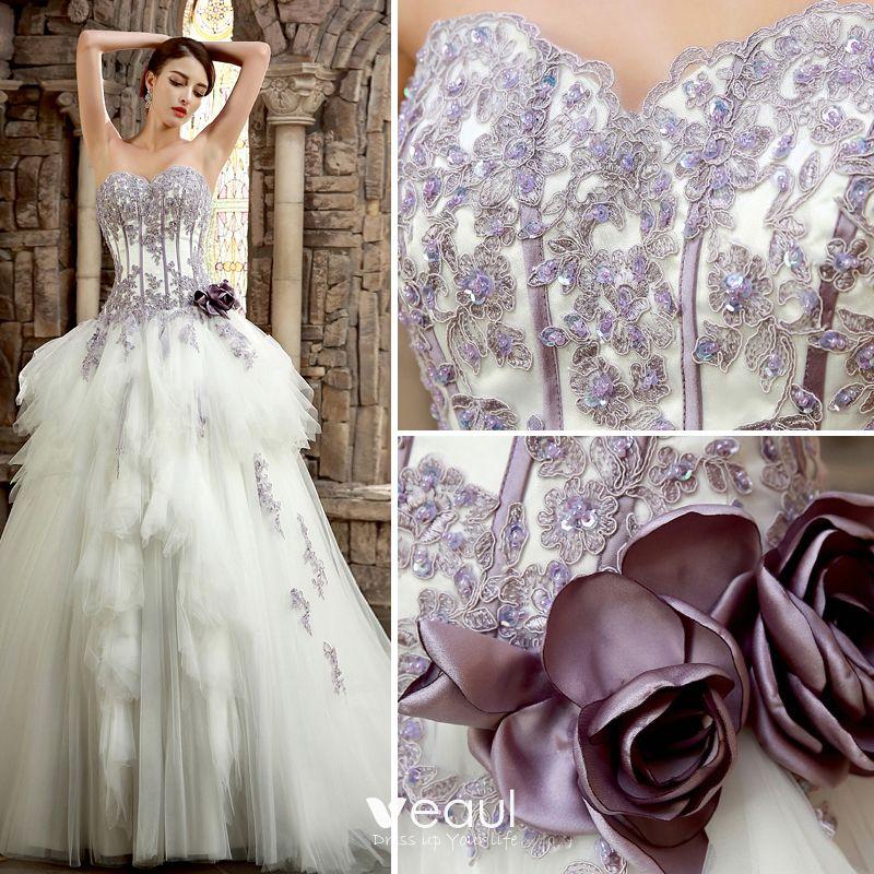 Romantic White Purple Wedding Dresses 2017 Organza Rhinestone Appliques Corset Pearl Wedding