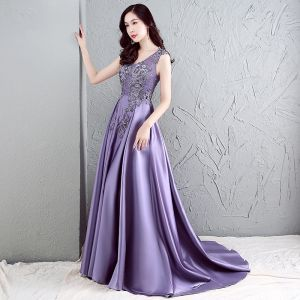 Chic / Beautiful Evening Dresses  2017 Lavender A-Line / Princess Sweep Train V-Neck Sleeveless Backless Beading Sequins Formal Dresses