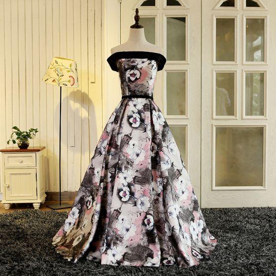 Blomma Fe Multi-Färger Långa Aftonklänningar 2018 Utskrift Charmeuse Prinsessa Halterneck Axelbandslös Afton Balklänningar