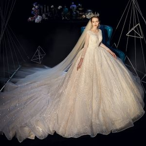 Bling Bling Champagne See-through Wedding Dresses 2019 A-Line / Princess Scoop Neck Long Sleeve Backless Beading Pearl Glitter Sequins Cathedral Train Ruffle