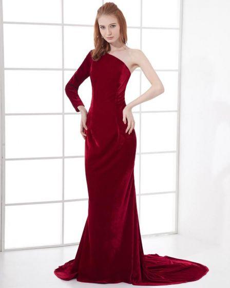 Rode Lange Jurk.Mode Spandex Stevige Hellende Vloer Lengte Rode Lange Jurk Avondjurk