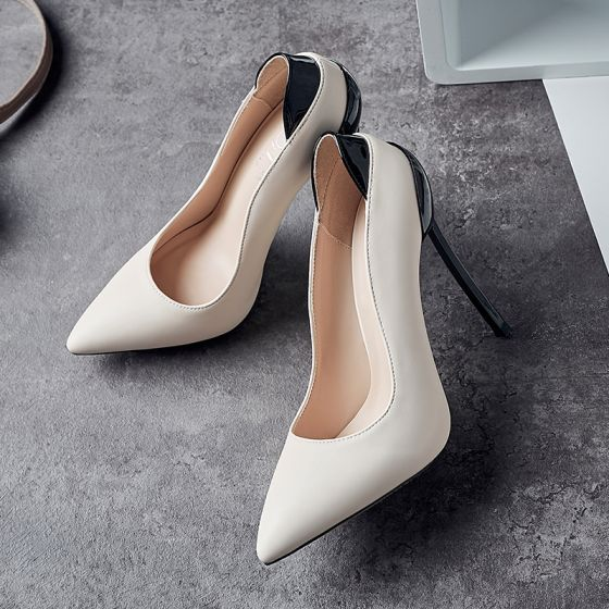 Chic / Beautiful Beige Dating Pumps 2019 12 cm Stiletto Heels Pointed Toe Pumps